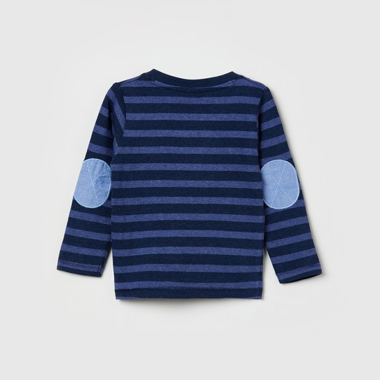 MAX Striped Henley T-shirt with Patch Pocket