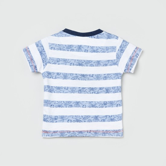 MAX Tropical Print Henley T-shirt with Applique