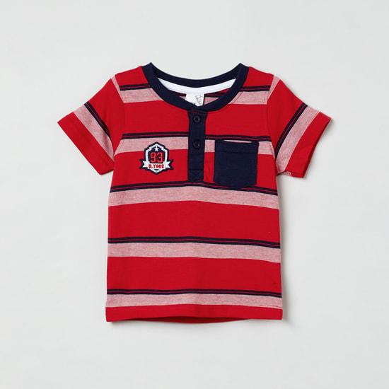 MAX Striped Short Sleeves Henley T-shirt