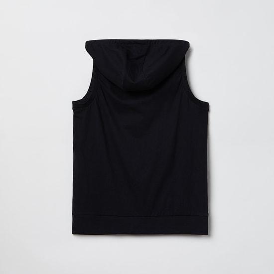 MAX Printed Hooded Sleeveless Sweatshirt