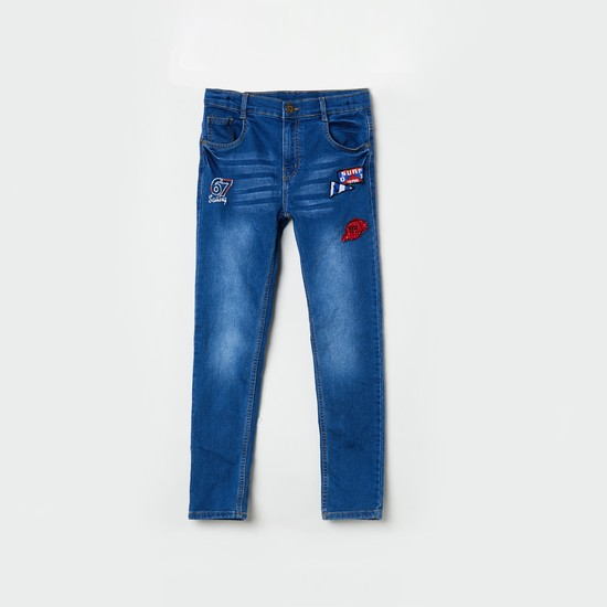 MAX 5-Pocket Slim Fit Jeans with Applique