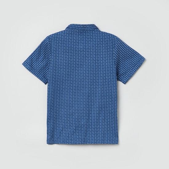 MAX Printed Short Sleeves Mandarin Collared Shirt