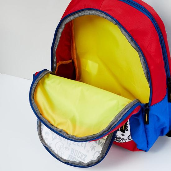 MAX Doodle Print Colourblock School Backpack