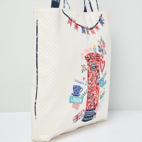 Max London Print Tote Bag Beige