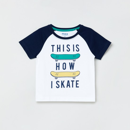 MAX Typographic Print Raglan Sleeves T-shirt