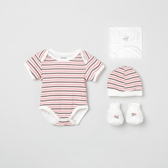 MAX Striped Sleepsuit with Beanie, Mittens and Wrapper - Pack of 5
