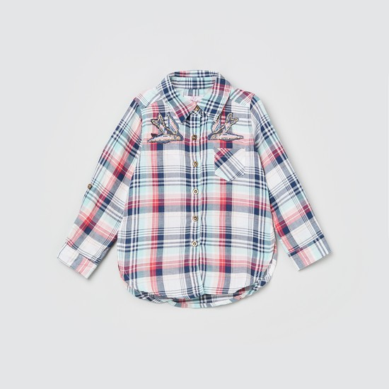 MAX Roll-Up Sleeves Embellished Checked Shirt