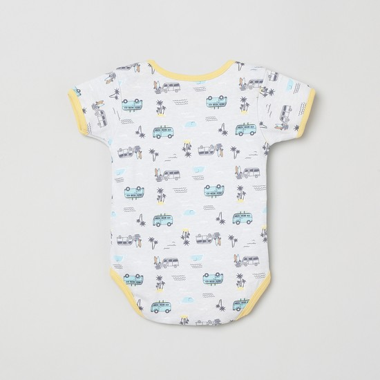 MAX Printed Romper with Bib and Beanie- Set of 3