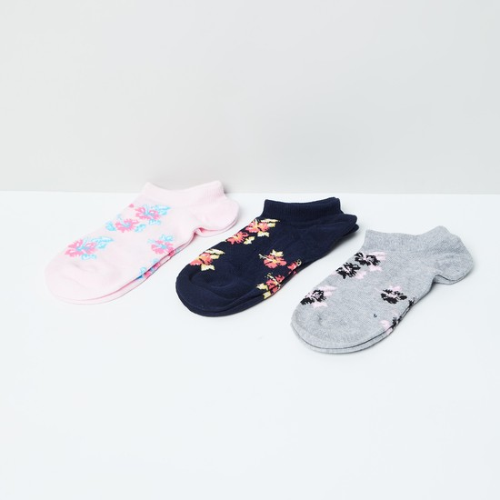 MAX Floral Patterned Ankle-Length Socks - Pack of 3
