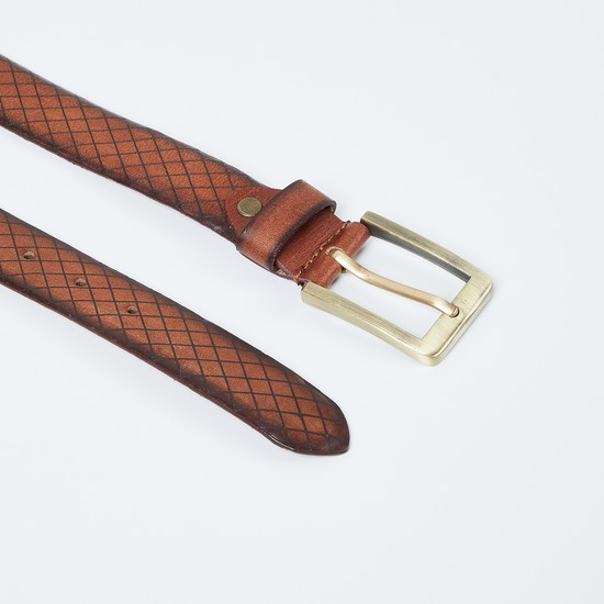 MAX Checked Leather Belt with Buckle Closure