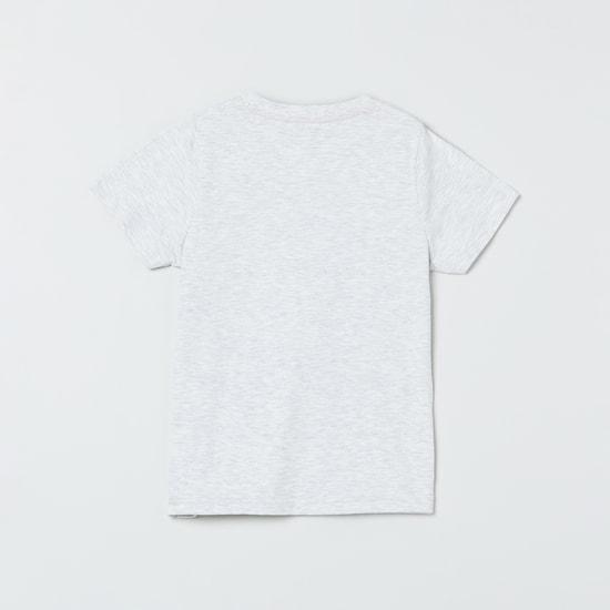MAX Typographic Print Heathered Crew-Neck T-shirt