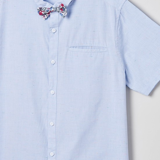 MAX Textured Short Sleeves Shirt with Bow Tie