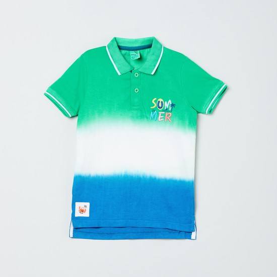 MAX Ombre-Dyed Polo T-shirt with Applique
