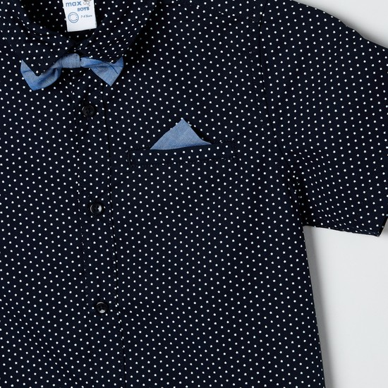 MAX Printed Shirt with Bow and Pocket Patch