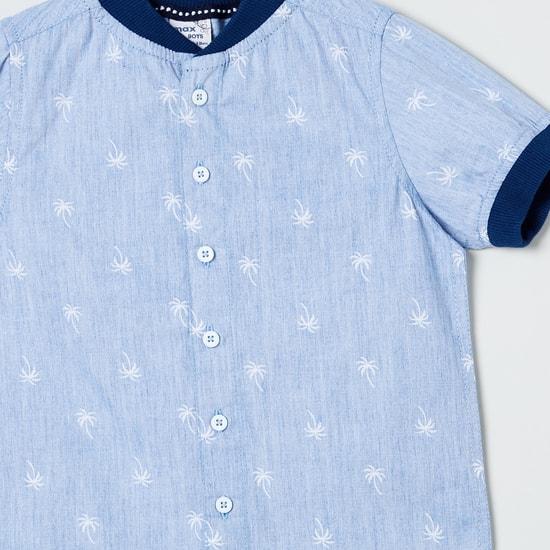 MAX Coconut Print Shirt with Baseball Collar