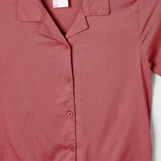 MAX Solid Tie-Up Hem Shirt