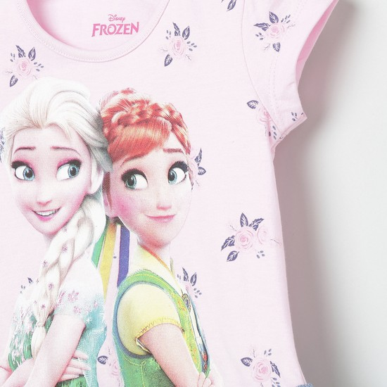 MAX Frozen Print Ruffled Hem Top