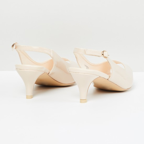MAX Sheen Peep-Toe Kitten Heels