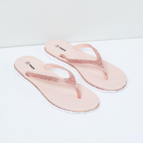 MAX Glittered V-strap Slippers