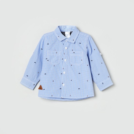 MAX Gingham Check Embroidered Shirt