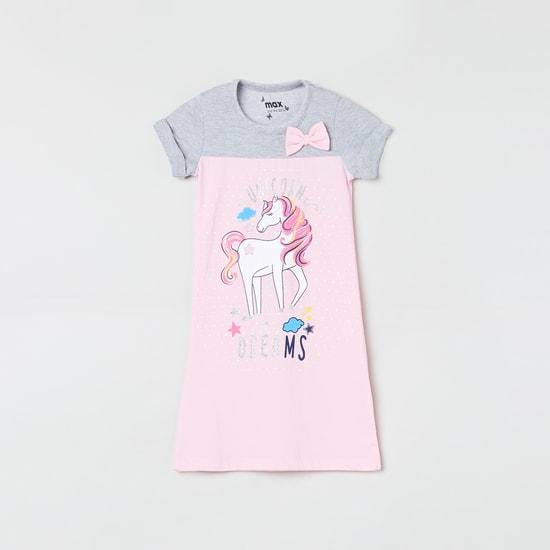 MAX Unicorn Print Colourblock Nightdress