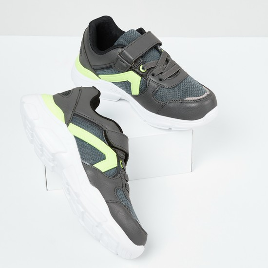 MAX Textured Lace-Up Velcro Strap Casual Shoes