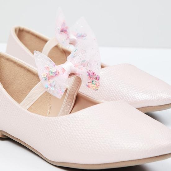 MAX Textured Bow Detail Ballerinas