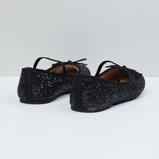 MAX Glittered Bow Detail Ballerinas