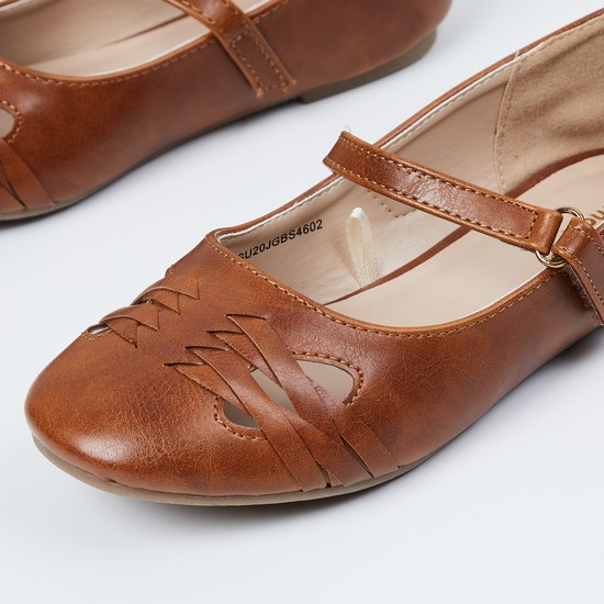 MAX Woven Detail Buckled Strap Ballerinas