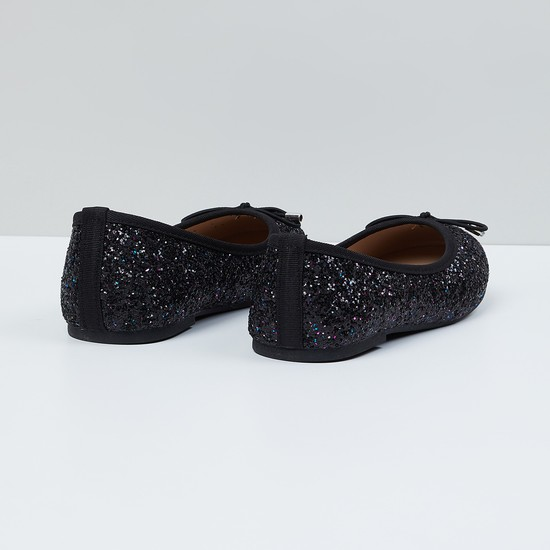 MAX Shimmery Bow-Detailed Ballerinas