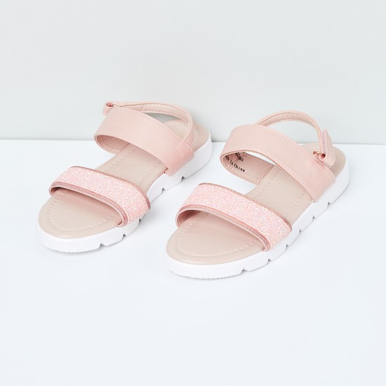 MAX Glittered Ankle-Strap Flat Form Sandals