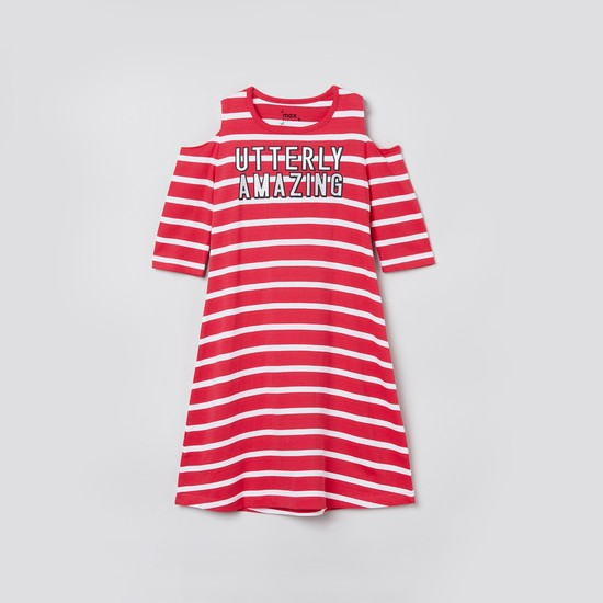 MAX Typographic Print Striped Cold-Shoulder Night Dress