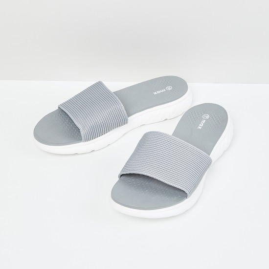 MAX Textured Sliders with Knitted Upper