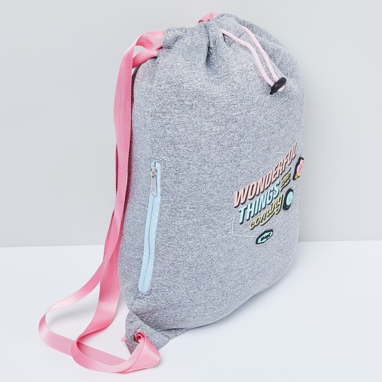 MAX Typographic Print Heathered Backpack