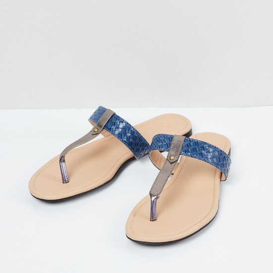 MAX Textured T-strap Flats