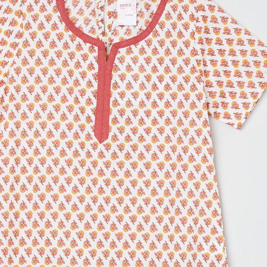 MAX Printed A-line Kurta with Contrast Taping