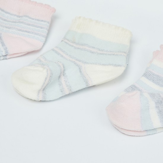 MAX Striped Ankle Length Socks - Pack of 3 Pairs