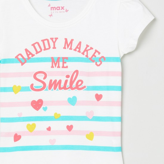 MAX Typographic Print Striped Round-Neck T-shirt