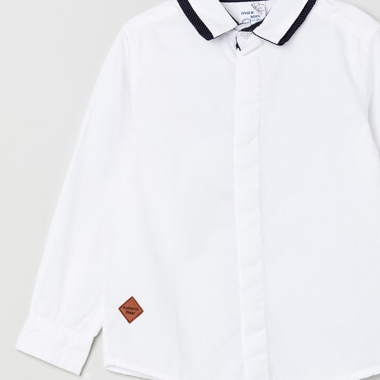 MAX Solid Casual Shirt with Contrast Collar