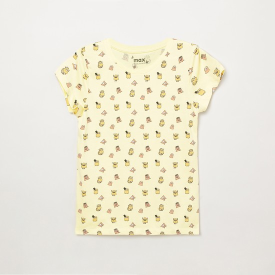 MAX Printed Round-Neck Top