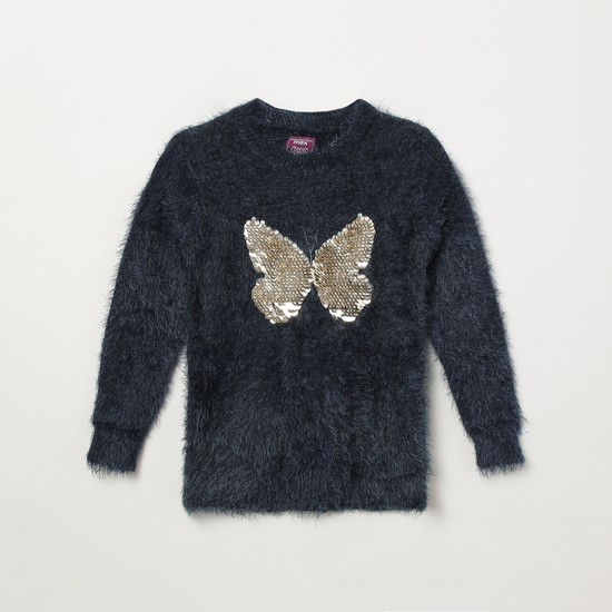 MAX Faux-Fur Trim Sweater with Sequin Embellishments