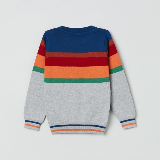 MAX Striped Sweater with Ribbed Hems