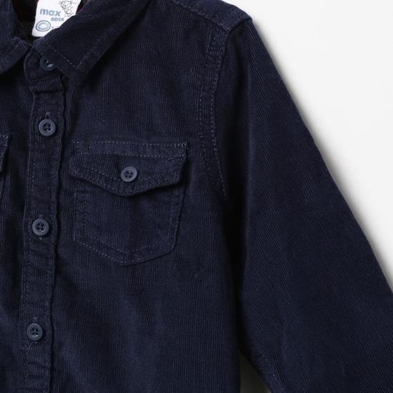 MAX Ribbed Casual Shirt with Flap Pockets