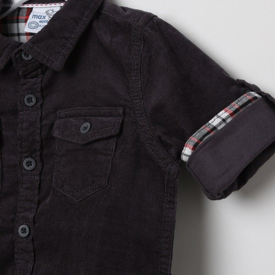 MAX Solid Roll-Up Sleeves Shirt