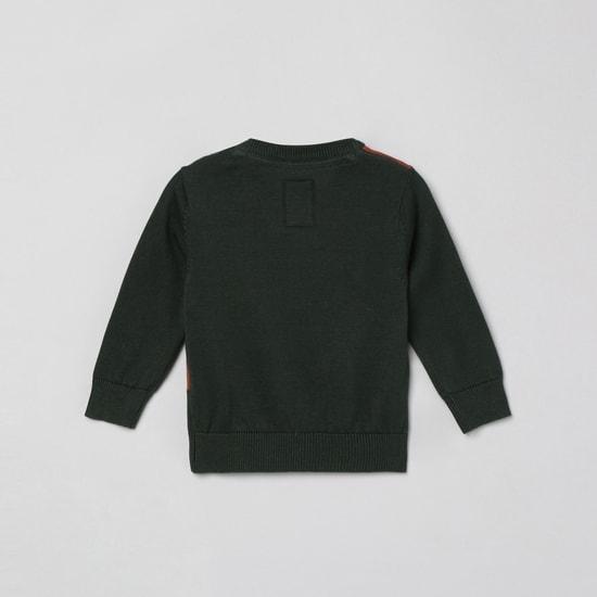 MAX Jacquard Pattern Crew Neck Sweater
