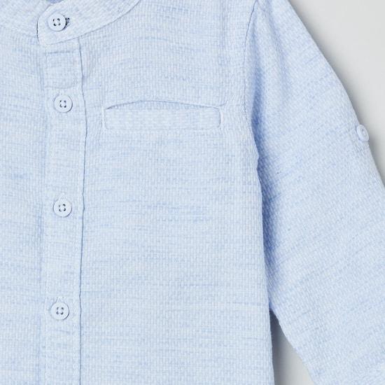 MAX Solid Band Collar Casual Shirt