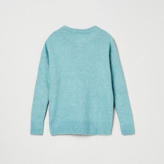 MAX Beaded Round-Neck Sweater