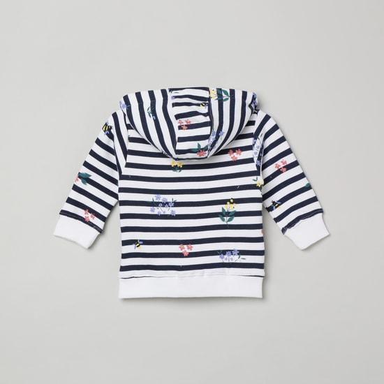 MAX Striped Full Sleeves Hooded Sweatshirt