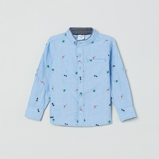 MAX Roll-Up Sleeves Novelty Print Casual Shirt