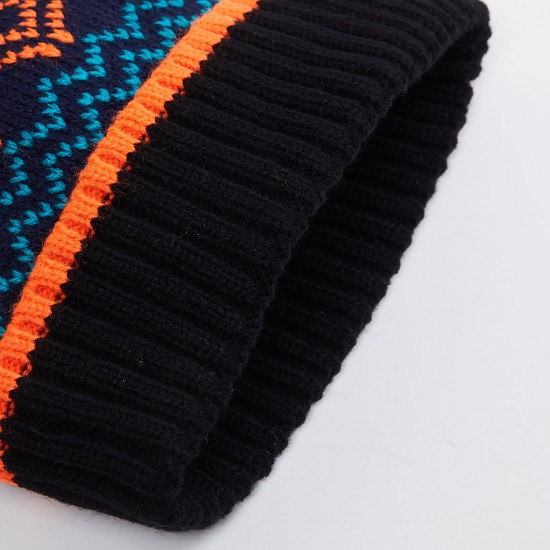 MAX Patterned Knit Beanie with Pompom